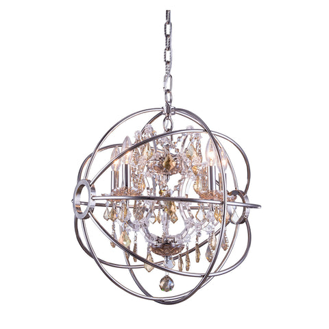 "Elegant Lighting 1130D20PN-GT/RC Geneva Collection Pendent Lamp D:20"" H:23"" Polished nickel Finish (Royal Cut Golden Teak Crystals) - Mega Supply Store"