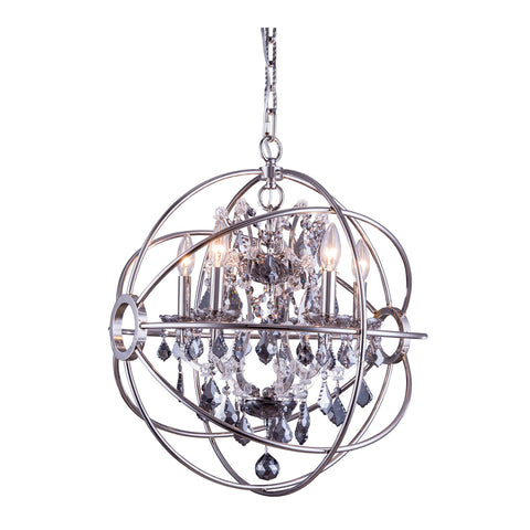 "Elegant Lighting 1130D20PN-SS/RC Geneva Collection Pendent Lamp D:20"" H:23"" Polished nickel Finish (Royal Cut Silver Shade Crystals) - Mega Supply Store"