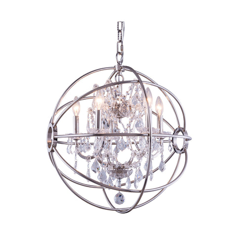 "Elegant Lighting 1130D20PN/RC Geneva Collection Pendent Lamp D:20"" H:23"" Polished nickel Finish (Royal Cut Crystals) - Mega Supply Store"