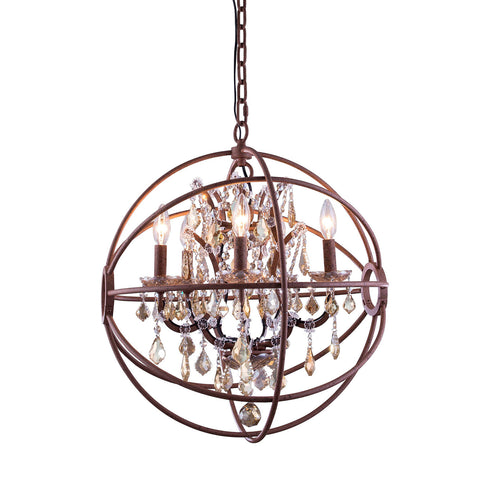 "Elegant Lighting 1130D20RI-GT/RC Geneva Collection Pendent Lamp D:20"" H:23"" Rustic Intent Finish (Royal Cut Golden Teak Crystals) - Mega Supply Store"
