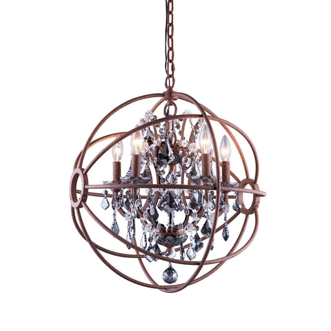 "Elegant Lighting 1130D20RI-SS/RC Geneva Collection Pendent Lamp D:20"" H:23"" Rustic Intent Finish (Royal Cut Silver Shade Crystals) - Mega Supply Store"