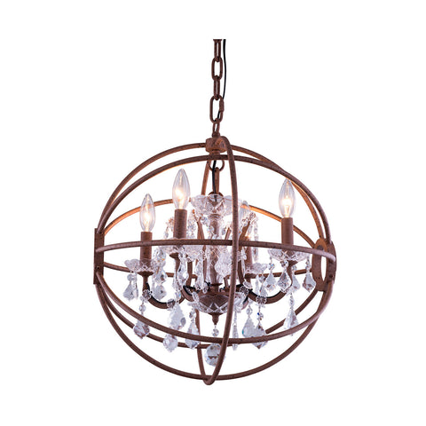 "Elegant Lighting 1130D20RI/RC Geneva Collection Pendent Lamp D:20"" H:23"" Rustic Intent Finish (Royal Cut Crystals) - Mega Supply Store"