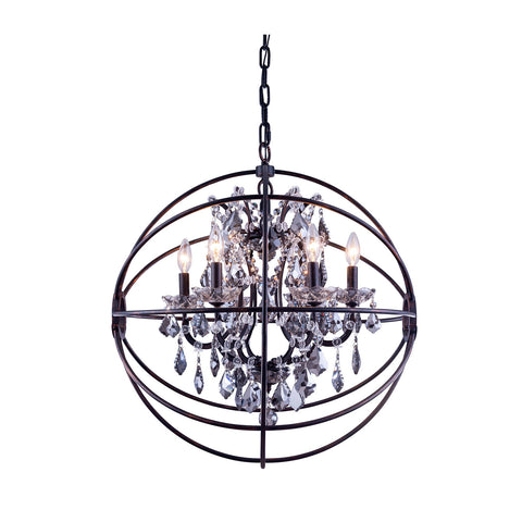 "Elegant Lighting 1130D25DB-SS/RC Geneva Collection Pendent Lamp D:25"" H:27.5"" Dark Bronze Finish (Royal Cut Silver Shade Crystals) - Mega Supply Store"