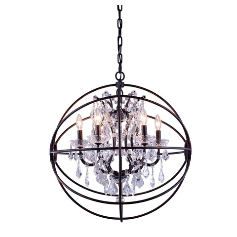 "Elegant Lighting 1130D25DB/RC Geneva Collection Pendent Lamp D:25"" H:27.5"" Dark Bronze Finish (Royal Cut Crystals) - Mega Supply Store"