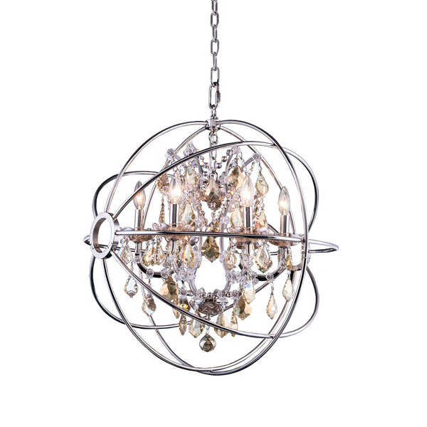 "Elegant Lighting 1130D25PN-GT/RC Geneva Collection Pendent Lamp D:25"" H:27.5"" Polished nickel Finish (Royal Cut Golden Teak Crystals) - Mega Supply Store"