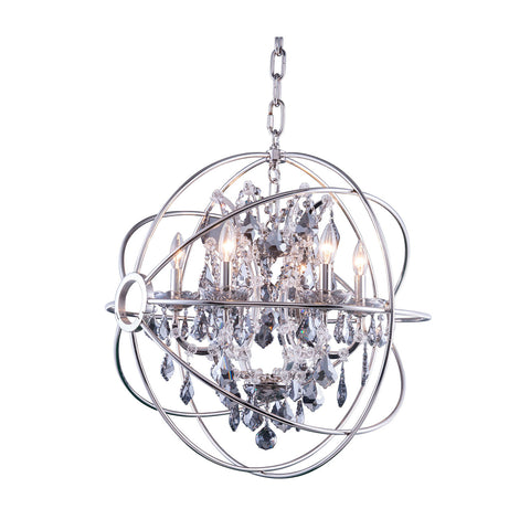 "Elegant Lighting 1130D25PN-SS/RC Geneva Collection Pendent Lamp D:25"" H:27.5"" Polished nickel Finish (Royal Cut Silver Shade Crystals) - Mega Supply Store"