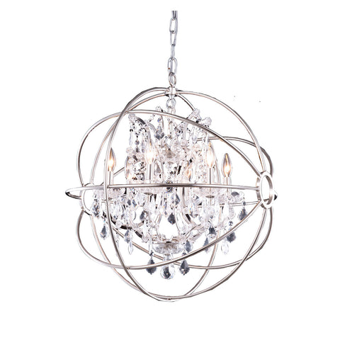 "Elegant Lighting 1130D25PN/RC Geneva Collection Pendent Lamp D:25"" H:27.5"" Polished nickel Finish (Royal Cut Crystals) - Mega Supply Store"