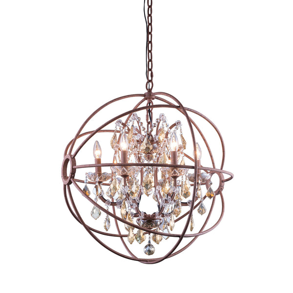 "Elegant Lighting 1130D25RI-GT/RC Geneva Collection Pendent Lamp D:25"" H:27.5"" Rustic Intent Finish (Royal Cut Golden Teak Crystals) - Mega Supply Store"