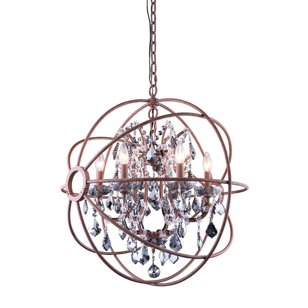 "Elegant Lighting 1130D25RI-SS/RC Geneva Collection Pendent Lamp D:25"" H:27.5"" Rustic Intent Finish (Royal Cut Silver Shade Crystals) - Mega Supply Store"