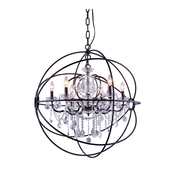 "Elegant Lighting 1130D32DB/RC Geneva Collection Pendent Lamp D:32"" H:34.5"" Dark Bronze Finish (Royal Cut Crystals) - Mega Supply Store"