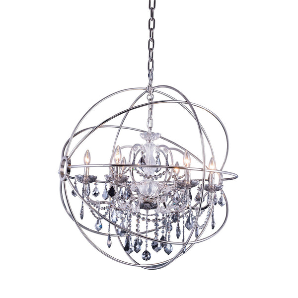 "Elegant Lighting 1130D32PN-SS/RC Geneva Collection Pendent Lamp D:32"" H:34.5"" Polished nickel Finish (Royal Cut Silver Shade Crystals) - Mega Supply Store"