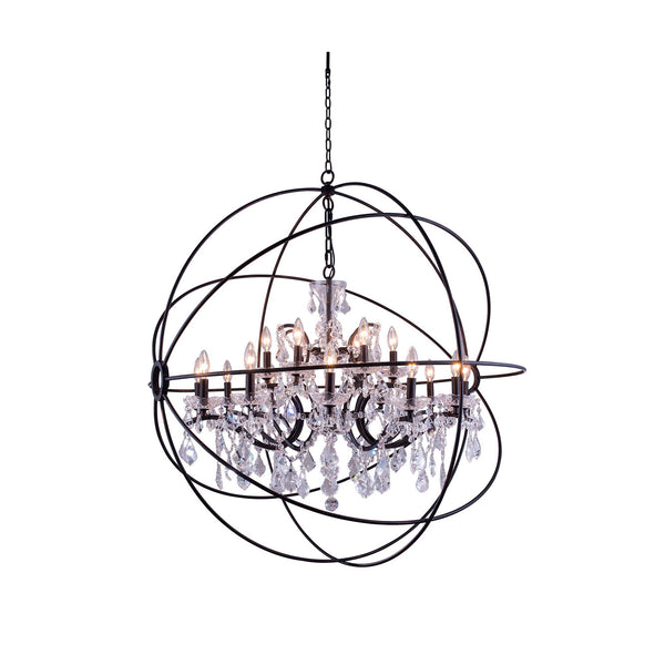 "Elegant Lighting 1130G43DB/RC Geneva Collection Pendent Lamp D:43.5"" H:46"" Dark Bronze Finish (Royal Cut Crystals) - Mega Supply Store"