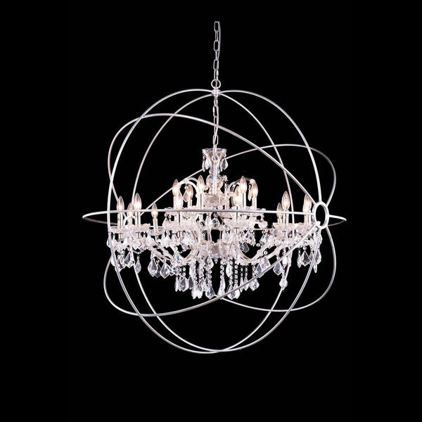 "Elegant Lighting 1130G43PN/RC Geneva Collection Pendent Lamp D:43.5"" H:46"" Polished nickel Finish (Royal Cut Crystals) - Mega Supply Store"