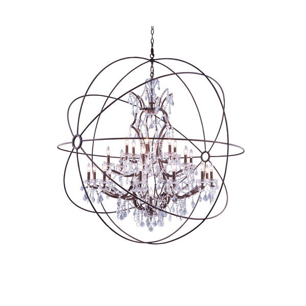 "Elegant Lighting 1130G60RI/RC Geneva Collection Pendent Lamp D:60"" H:63"" Rustic Intent Finish (Royal Cut Crystals) - Mega Supply Store"