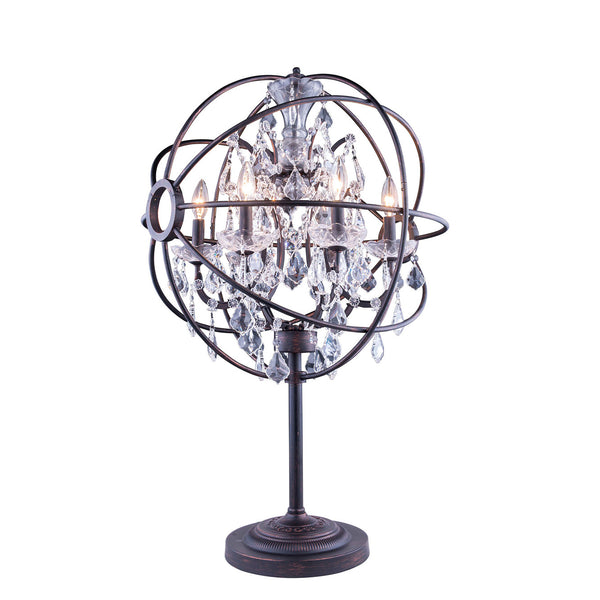 "Elegant Lighting 1130TL21DB/RC Geneva Collection Table Lamp D:22"" H:34"" Dark Bronze Finish (Royal Cut Crystals) - Mega Supply Store"