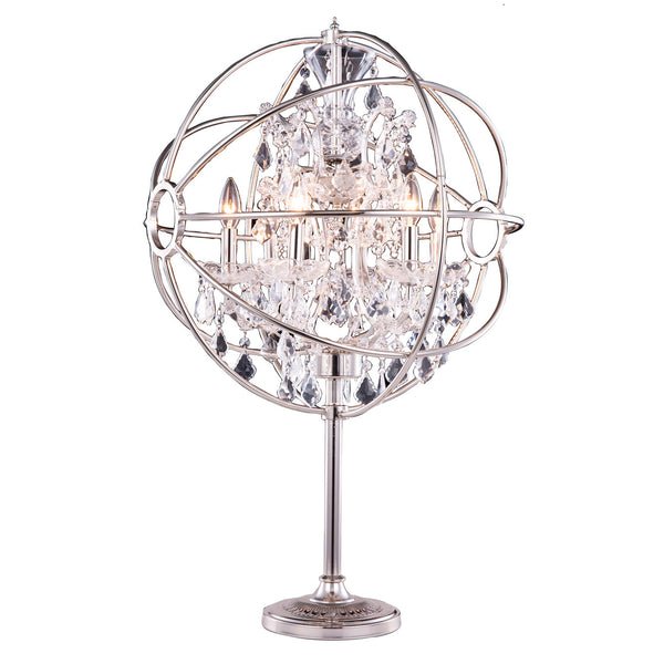 "Elegant Lighting 1130TL21PN/RC Geneva Collection Table Lamp D:22"" H:34"" Polished nickel Finish (Royal Cut Crystals) - Mega Supply Store"