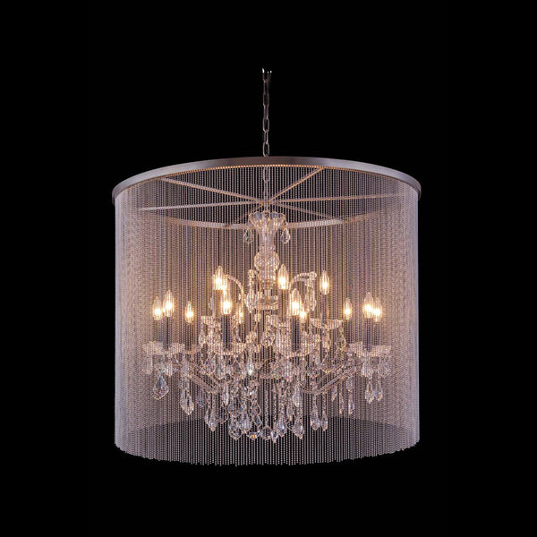"Elegant Lighting 1131D36MB/RC Brooklyn Collection Pendent Lamp D:36"" H:30.5"" Mocha Brown Finish (Royal Cut Crystals) - Mega Supply Store"