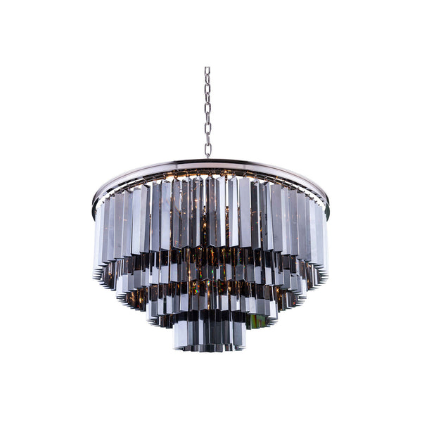 "Elegant Lighting 1201D32PN-SS/RC Sydney Collection Pendent Lamp D:32"" H:23.5"" Polished nickel Finish (Royal Cut Silver Shade Crystals) - Mega Supply Store"