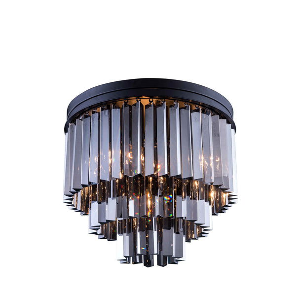 "Elegant Lighting 1201F20MB-SS/RC Sydney Collection Flush Mount Light Fixture D:20"" H:16"" Mocha Brown Finish (Royal Cut Silver Shade Crystals) - Mega Supply Store"