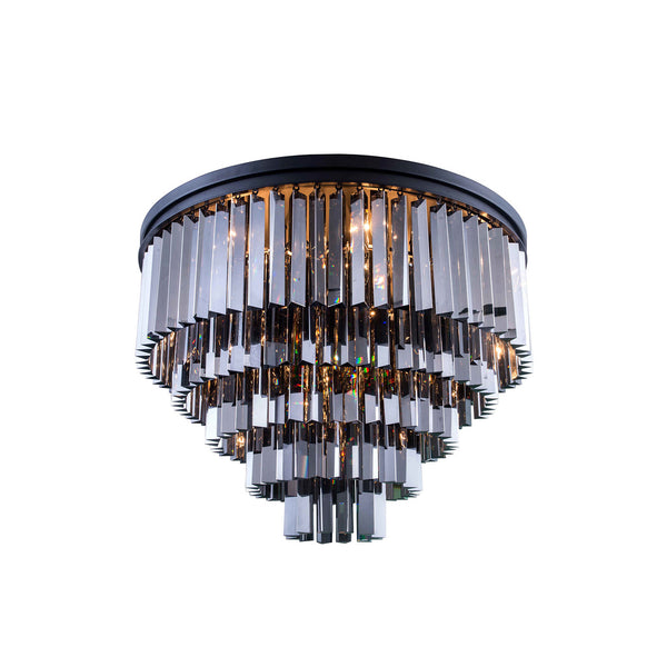 "Elegant Lighting 1201F32MB-SS/RC Sydney Collection Flush Mount Light Fixture D:32"" H:21"" Mocha Brown Finish (Royal Cut Silver Shade Crystals) - Mega Supply Store"