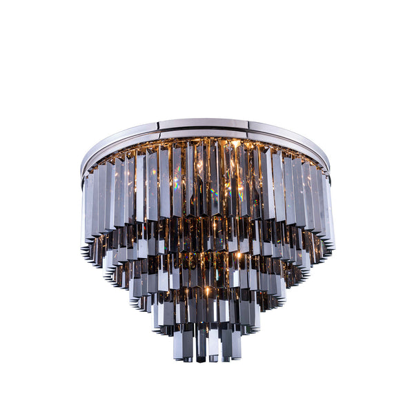 "Elegant Lighting 1201F32PN-SS/RC Sydney Collection Flush Mount Light Fixture D:32"" H:21"" Polished nickel Finish (Royal Cut Silver Shade Crystals) - Mega Supply Store"