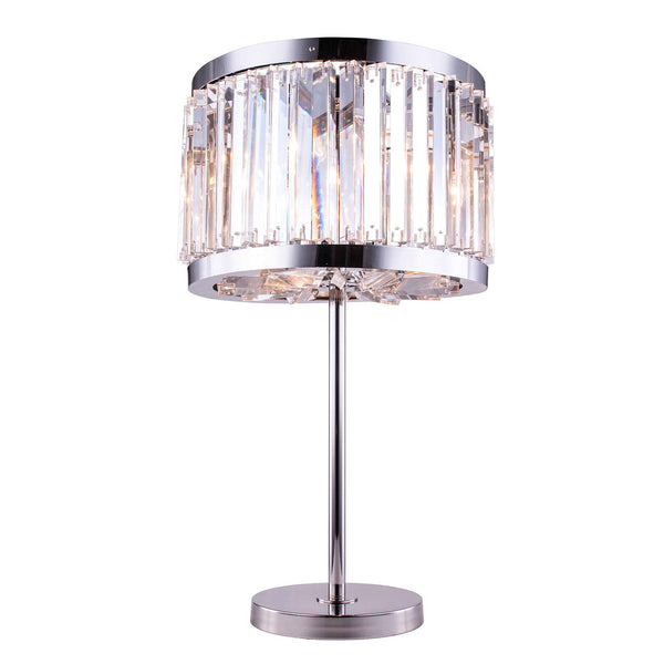 "Elegant Lighting 1203TL18PN/RC Chelsea Collection Table Lamp D:18"" H:32"" Polished nickel Finish (Royal Cut Crystals) - Mega Supply Store"