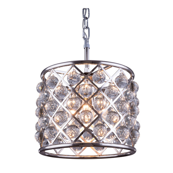 "Elegant Lighting 1204D14PN/RC Madison Collection Pendent Lamp D:14"" H:13"" Polished nickel Finish (Royal Cut Crystals) - Mega Supply Store"