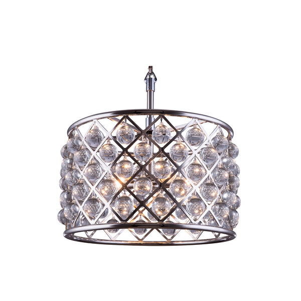 "Elegant Lighting 1204D20PN/RC Madison Collection Pendent Lamp D:20"" H:13"" Polished nickel Finish (Royal Cut Crystals) - Mega Supply Store"