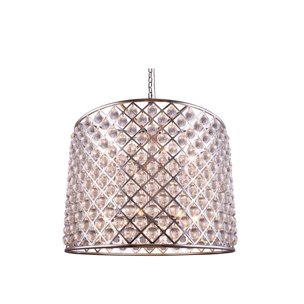 "Elegant Lighting 1204D35PN/RC Madison Collection Pendent Lamp D:35.5"" H:28"" Polished nickel Finish (Royal Cut Crystals) - Mega Supply Store"