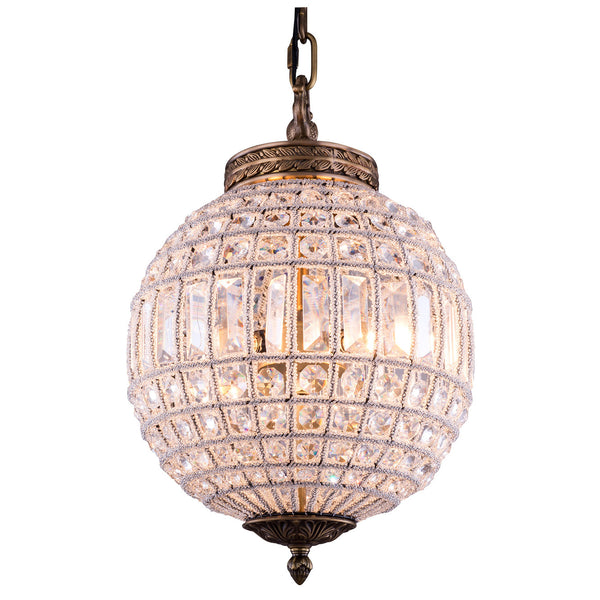 "Elegant Lighting 1205D12FG/RC Olivia Collection Pendent Lamp D:12"" H:18.5"" French Gold Finish (Royal Cut Crystals) - Mega Supply Store"