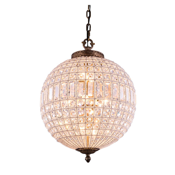"Elegant Lighting 1205D18FG/RC Olivia Collection Pendent Lamp D:17.5"" H:25.5"" French Gold Finish (Royal Cut Crystals) - Mega Supply Store"