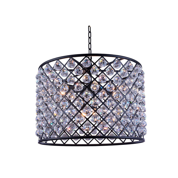 "Elegant Lighting 1206D27MB/RC Madison Collection Pendent Lamp D:27.5"" H:21"" Mocha Brown Finish (Royal Cut Crystals) - Mega Supply Store"