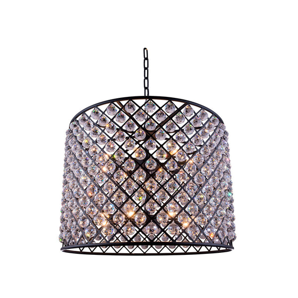 "Elegant Lighting 1206D35MB/RC Madison Collection Pendent Lamp D:35.5"" H:28"" Mocha Brown Finish (Royal Cut Crystals) - Mega Supply Store"
