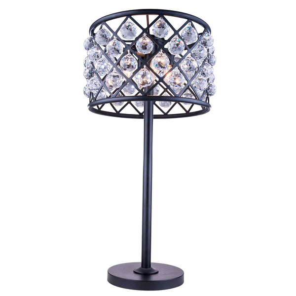"Elegant Lighting 1206TL15MB/RC Madison Collection Table Lamp D:15.5"" H:32"" Mocha Brown Finish (Royal Cut Crystals) - Mega Supply Store"