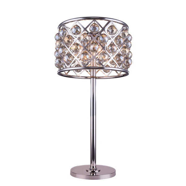 "Elegant Lighting 1206TL15PN-GT/RC Madison Collection Table Lamp D:15.5"" H:32"" Polished nickel Finish (Royal Cut Golden Teak Crystals) - Mega Supply Store"