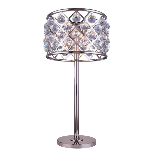 "Elegant Lighting 1206TL15PN/RC Madison Collection Table Lamp D:15.5"" H:32"" Polished nickel Finish (Royal Cut Crystals) - Mega Supply Store"