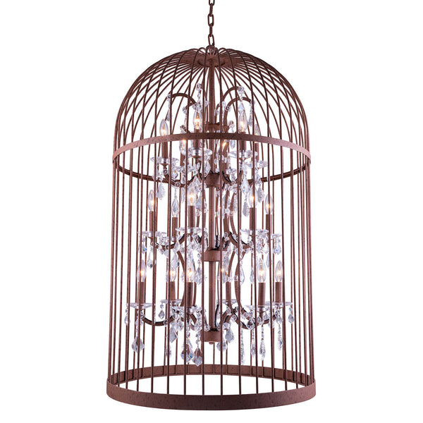 "Elegant Lighting 1207G27RI/RC Austin Collection Pendent Lamp D:27"" H:46"" Rustic Intent Finish (Royal Cut Crystals) - Mega Supply Store"