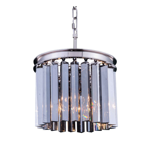 "Elegant Lighting 1208D12PN-SS/RC Sydney Collection Pendent Lamp D:12"" H:13"" Polished nickel Finish (Royal Cut Silver Shade Crystals) - Mega Supply Store"