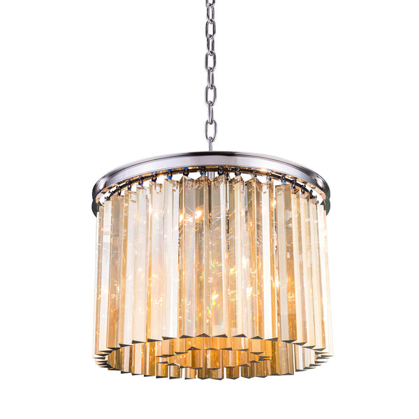 "Elegant Lighting 1208D20PN-GT/RC Sydney Collection Pendent Lamp D:20"" H:13.5"" Polished nickel Finish (Royal Cut Golden Teak Crystals) - Mega Supply Store"