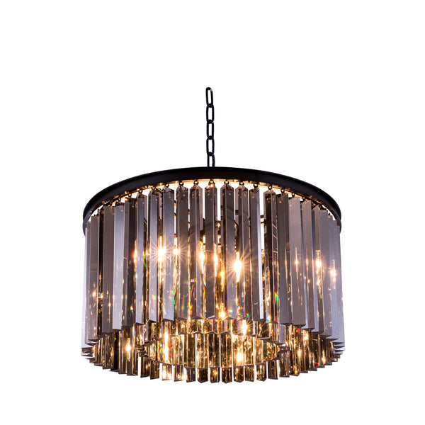 "Elegant Lighting 1208D26MB-SS/RC Sydney Collection Pendent Lamp D:26"" H:13.5"" Mocha Brown Finish (Royal Cut Silver Shade Crystals) - Mega Supply Store"