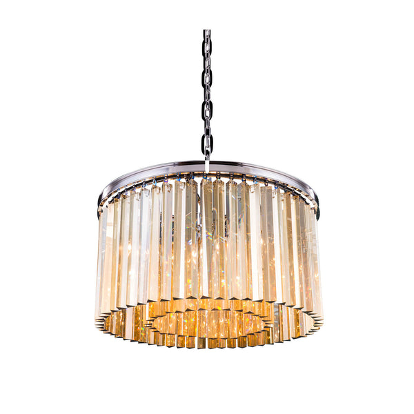 "Elegant Lighting 1208D26PN-GT/RC Sydney Collection Pendent Lamp D:26"" H:13.5"" Polished nickel Finish (Royal Cut Golden Teak Crystals) - Mega Supply Store"