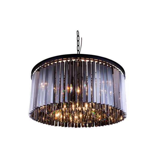 "Elegant Lighting 1208D31MB-SS/RC Sydney Collection Pendent Lamp D:31.5"" H:13.5"" Mocha Brown Finish (Royal Cut Silver Shade Crystals) - Mega Supply Store"