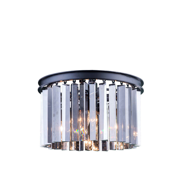 "Elegant Lighting 1208F16MB-SS/RC Sydney Collection Flush Mount Light Fixture D:16"" H:10.5"" Mocha Brown Finish (Royal Cut Silver Shade Crystals) - Mega Supply Store"