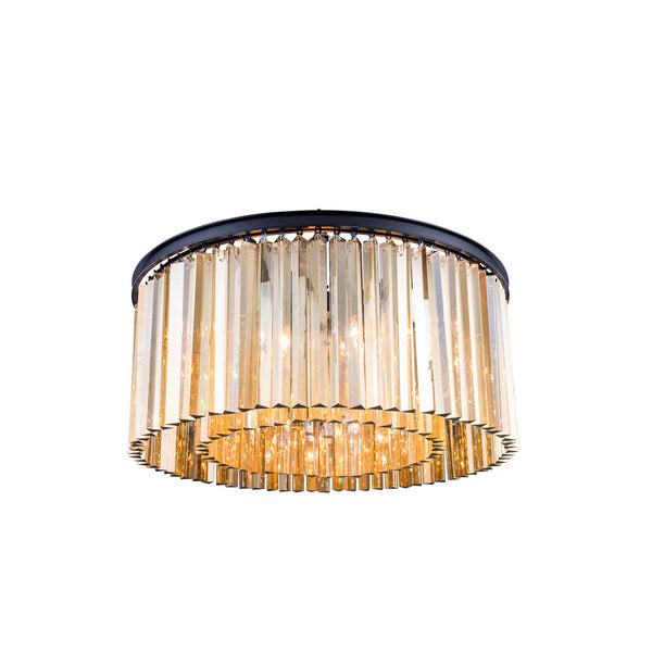 "Elegant Lighting 1208F31MB-GT/RC Sydney Collection Flush Mount Light Fixture D:31.5"" H:13.5"" Mocha Brown Finish (Royal Cut Golden Teak Crystals) - Mega Supply Store"