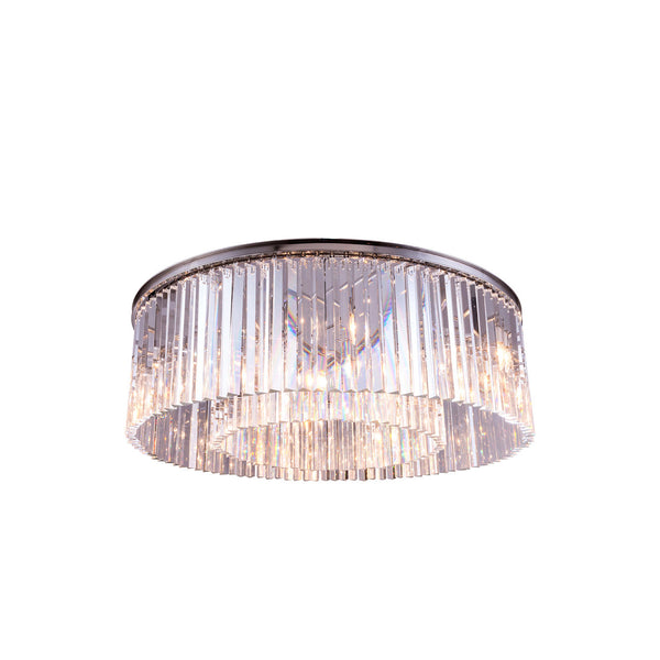 "Elegant Lighting 1208F43PN/RC Sydney Collection Flush Mount Light Fixture D:43.5"" H:13.5"" Polished nickel Finish (Royal Cut Crystals) - Mega Supply Store"