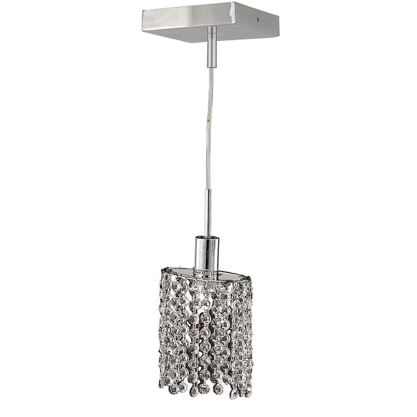 "Elegant Lighting 1281D-S-E-CL/EC Mini Collection Hanging Fixture Square Canopy D4.5"" x H12"" x 48"" Ellipse Pendant, Chrome Finish (Elegant Cut Crystals) - Mega Supply Store"