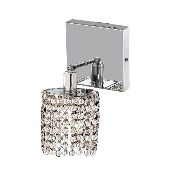 "Elegant Lighting 1281W-S-R-CL/RC Mini Collection Wall Fixture Square Canopy L4.5"" x W4.5"" x H13.5"" Round Pendant, Chrome Finish (Royal Cut Crystals) - Mega Supply Store"
