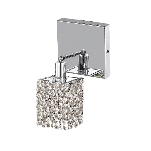 "Elegant Lighting 1281W-S-S-CL/RC Mini Collection Wall Fixture Square Canopy L4.5"" x W4.5"" x H13.5"" Square Pendant, Chrome Finish (Royal Cut Crystals) - Mega Supply Store"