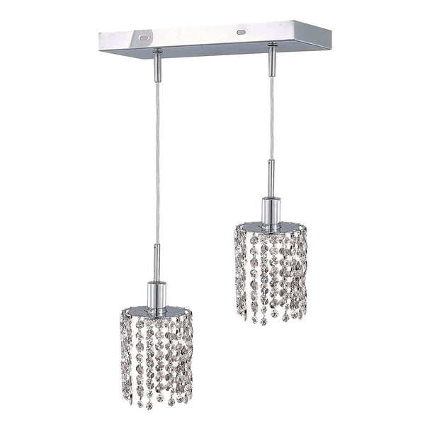"Elegant Lighting 1282D-O-R-CL/EC Mini Collection Hanging Fixture Oblong Canopy L8"" x 4.5"" x H12"" x 48"" Round Pendant, Chrome Finish (Elegant Cut Crystals) - Mega Supply Store"