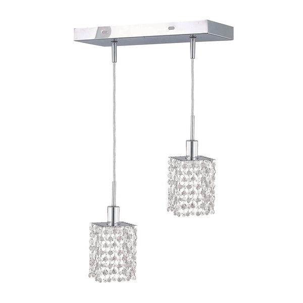 "Elegant Lighting 1282D-O-S-CL/SA Mini Collection Hanging Fixture Oblong Canopy L8"" x 4.5"" x H12"" x 48"" Square Pendant, Chrome Finish (Swarovski Spectra Crystals) - Mega Supply Store"